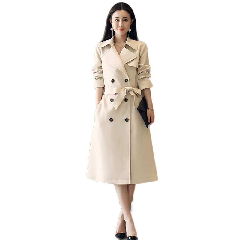 2019 New Spring Autumn British Style   Trench   Female Long Coat Women Double Breasted Adjustable Waist Windbreaker Outerwears X55