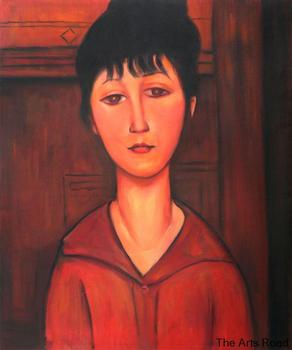 Head of a Young Girl by Amedeo Modigliani Oil Painting Portrait Abstract Wall Art Handpainted Home Decoration