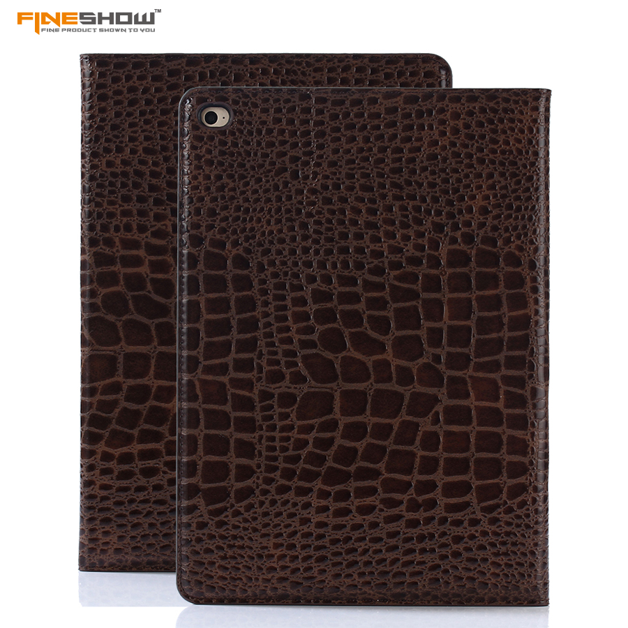 Fineshow Smart Case For Apple iPad Air 2 Crocodile Books Leather Smart Folio Stand Cover Case with Auto Sleep/Wake Function pu leather smart case cover stand with auto sleep wake function for ipad air 1 2