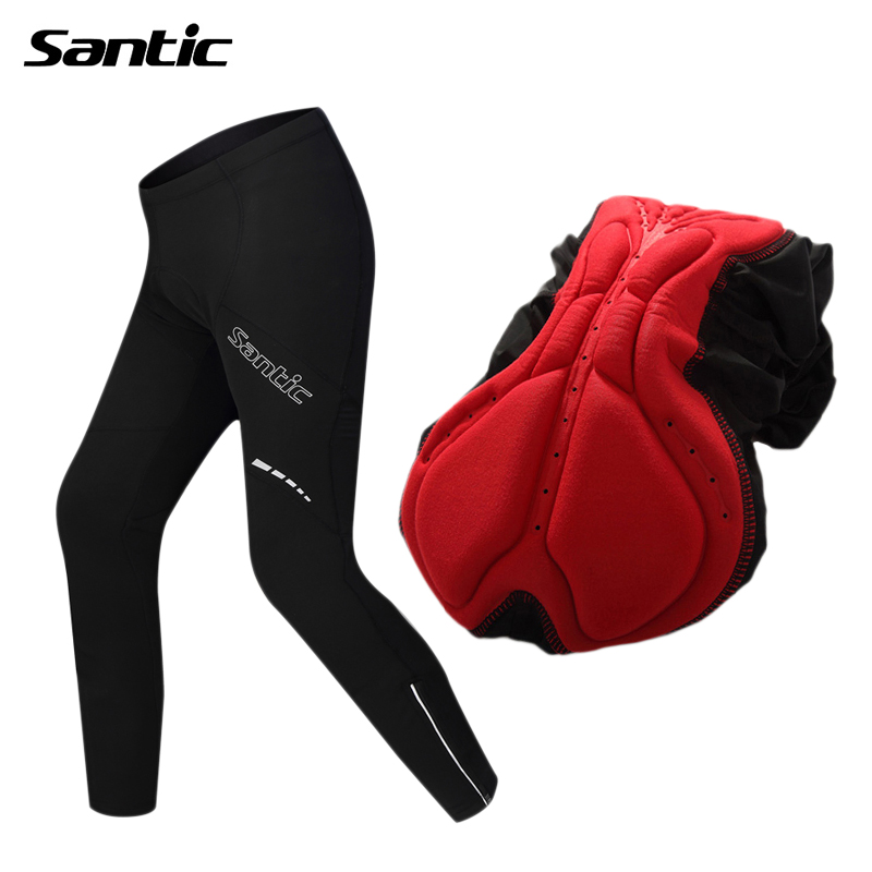 Santic 4D Padded Cycling Pants Men Windproof Thermal Fleece MTB Bicycle Bike Pants Full Length Trousers Riding Cycle Clothing  santic winter thermal fleece m 3xl 4d pads cycling pants men bicycle bike pants tight trousers sweatpants cycling clothing 2017