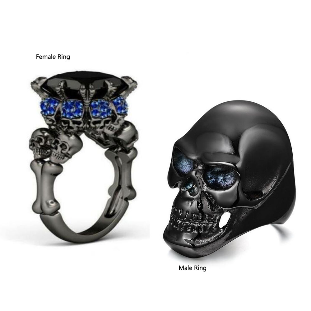 skull wedding ring sets - Skull Wedding Ring Sets