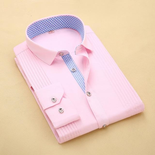 Autumn 2016 Men's Long-sleeve Dress Shirt White-solid Regular-fit Comfort Soft Business Casual Button-down Shirts
