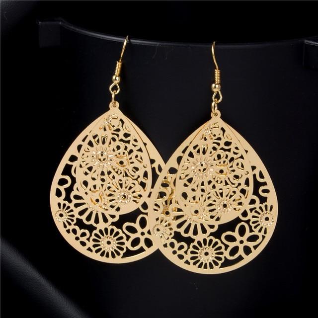 SHUANGR Flower Piercing Hanging Earrings For Women Big Gold-Color Water Drop Statement Earrings Fashion Jewelry Indian