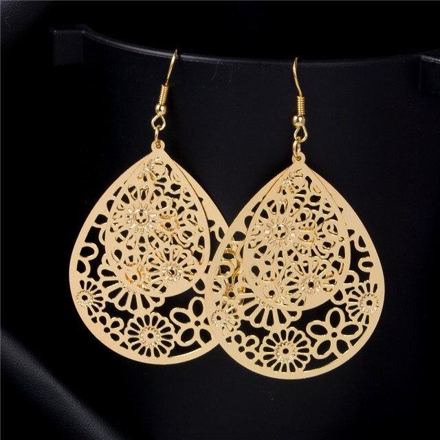 SHUANGR SHUANGR Flower Piercing Hanging Earrings For Women Big Gold-Color Water Drop Statement Earrings Fashion Jewelry Indian