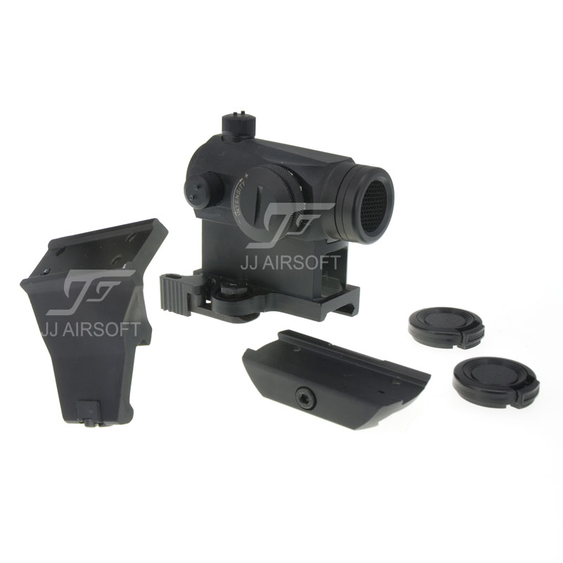 JJ Airsoft 1x24 Red Dot with Killflash / Kill Flash , 45 Degree Offset Mount, QD Riser Mount and Low Mount (Black) jj airsoft xps 2 z red green dot qd mount black