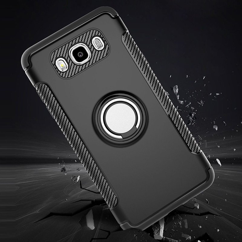 Galleria fotografica Luxury Armor Metal Magnet Case For Samsung Galaxy J7 2016 Cover For Samsung J5 2016 Case Cover Soft Gel Coque With Phone Holder