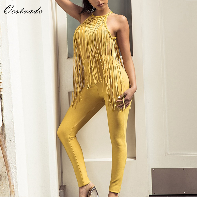 Ocstrade   Jumpsuits   for Women 2019 Summer Bodycon Golden Yellow Embellished Fringe Detail High Quality Rayon Bandage   Jumpsuit