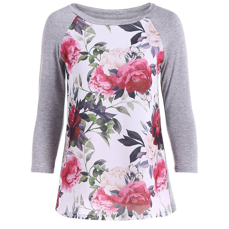 Women Floral Print Splicing T-shirt Round Neck Baseball Tee Long Style Raglan Long Sleeve Autumn Tops Plus Size Fall Tees
