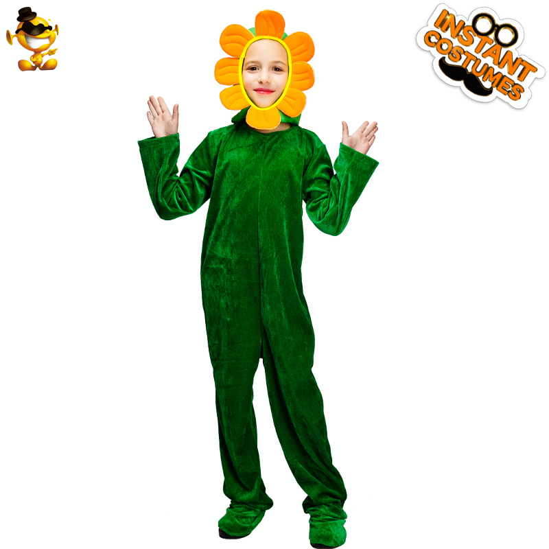 DISPLAY Child Sunflower Jumpsuit New Style Kids Food Cosplay Sunflower Costumes for Carnival Halloween Party