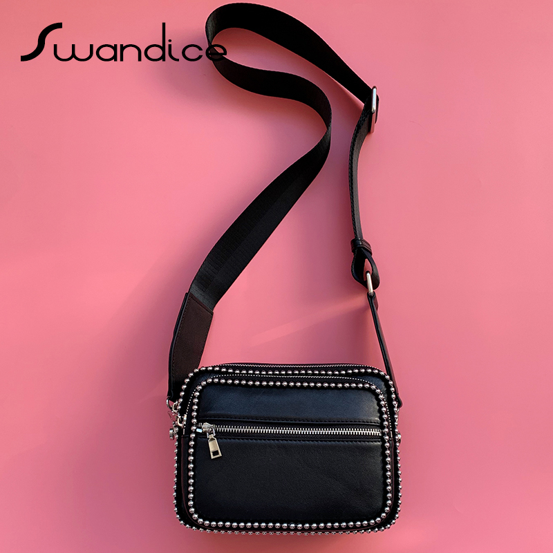 100 Real Cowhide Genuine Leather Ball Chain Camera Crossbody Messenger Shoulder Chest Belt Bags Packs Handbag