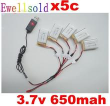 цены 3.7v 650mah 20c battery+USB cable charger for drone Syma X5C X5 X5A 2.4G rc quadcopter parts Li-po battery