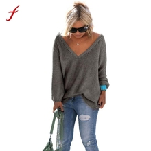 FEITONGFemale Sweater Long Sleeve Knitted Pullover New Autumn Winter Loose Sweater Fashion V-Neck Solid Jumper Tops Knitwear