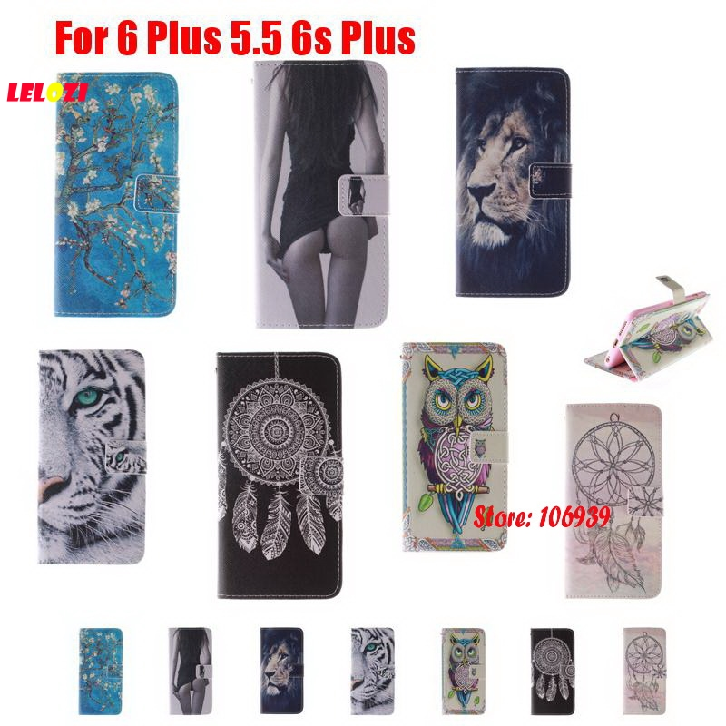 LELOZI Fashion New Best Flip Book Wallet Painted PU Leather Case Cover Bag Cove For iPhone 6 Plus 5.5 6s Girl Dreamcatcher Tiger