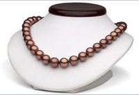 hot sell perfect 10 11mm tahitian chocolate pearl necklace 18inch gem Gold Clasp