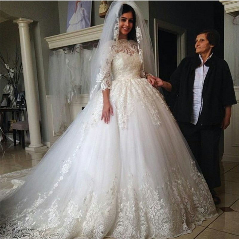 Cathedral Wedding Gowns: Luxury Half Sleeve Cathedral Train Royal Lace Wedding