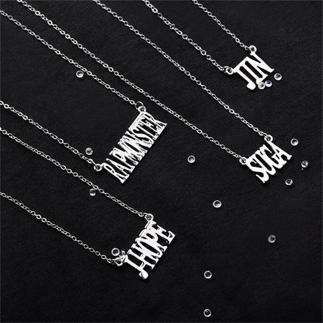 Kpop Bangtan Boys Necklace Silvery Alloy JIMIN JUNGKOOK SUGA V Same Necklace Fashion Women Men Jewelry