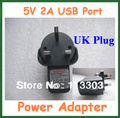 100pcs 5V 2A USB Port Charger UK Plug Adapter Power Supply for Tablet PC Ainol Novo 7 3G AX1 Free Shipping