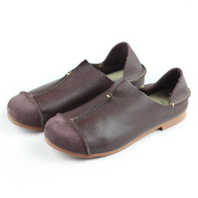 ef9ce93496e76 Hand-made Genuine Leather Flat Shoes Woman Slip on Loafers Ladies Flat  Shoes Mori Girl