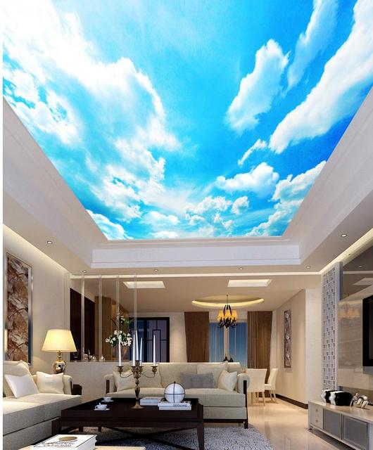 bleu ciel ensoleill salon chambre plafond paysage peintures murales de papier peint plafonds. Black Bedroom Furniture Sets. Home Design Ideas