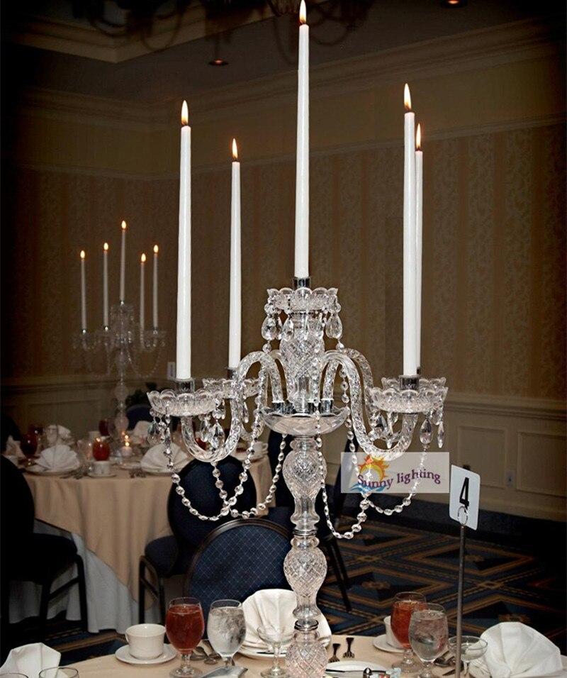 Us 2100 Grande Ristorante Cristallo Lampada Da Tavolo In Vetro Candelabri Wedding Alti Led Supporto Di Candela Del Partito Sala Da Pranzo In
