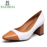 RAZAMAZA DE LA MUJER bombas de tacón alto de cuero genuino zapatos de mujer  de Color 28e1a45e47f3