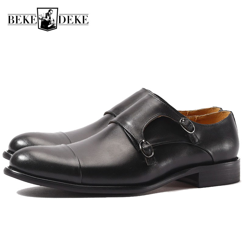 Italian Fashion Mens Genuine Leather Monk Strap Shoes Office Work Formal Footwear Social Man Slip On
