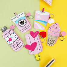 30PCS / LOT Girl Ice Cream Coin Bag Cute Purse Women Mini Cartoon Key Chain Wholesale Random Color