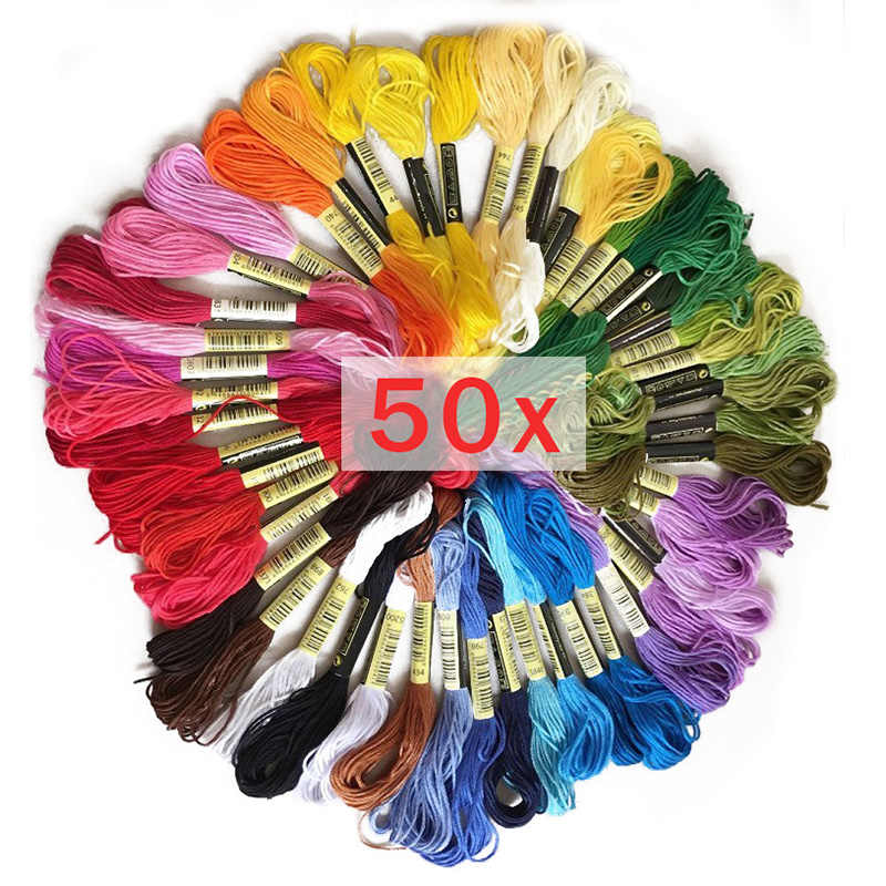 50pcs Anchor Similar dmc embroidery floss Cross Stitch Cotton Embroidery Thread Floss Sewing Skeins Craft