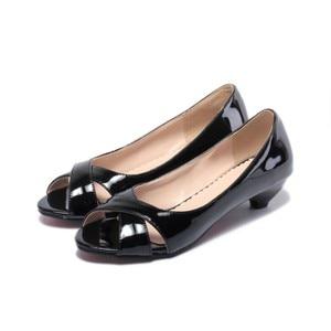 Image 4 - Vendita di grandi dimensioni 34 43 sandali da donna estivi Multi colore con zeppa piccola fiore vernice punta aperta cono tacchi Casual 9 3