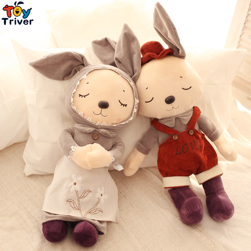 Pastoral Plush Bunny Couple Rabbit Toys Baby Doll Stuffed Animal Dolls Couples Wedding Birthday Gift Shop Home Decor Ornament 60cm new queen couple rabbit plush toy of peter rabbit doll wearing glasses rabbit doll valentine s day gift