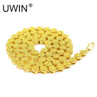 UWIN Men's Iced Out Necklace Round Shape Gold Color Rapper HIP HOP Bling Yellow CZ Rhinestone Chain Necklaces Punk Jewelry 76cm