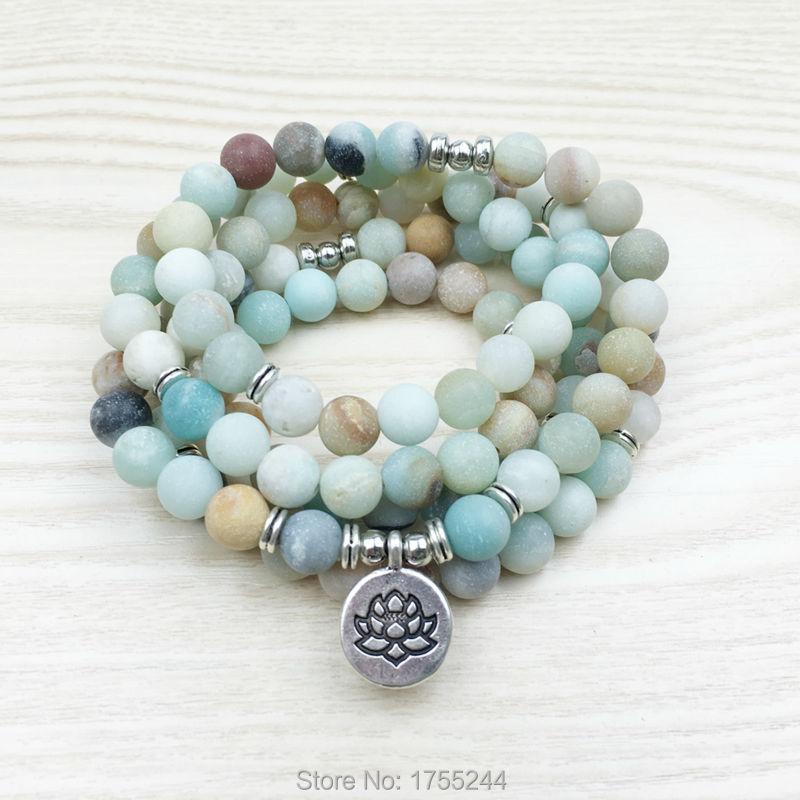 Prix pour SN1142 Mode Femmes de 8mm Mat Amazonite 108 Mala Perles Bracelet ou Collier Lotus Bouddha Ohm Charme Bracelet Livraison gratuite