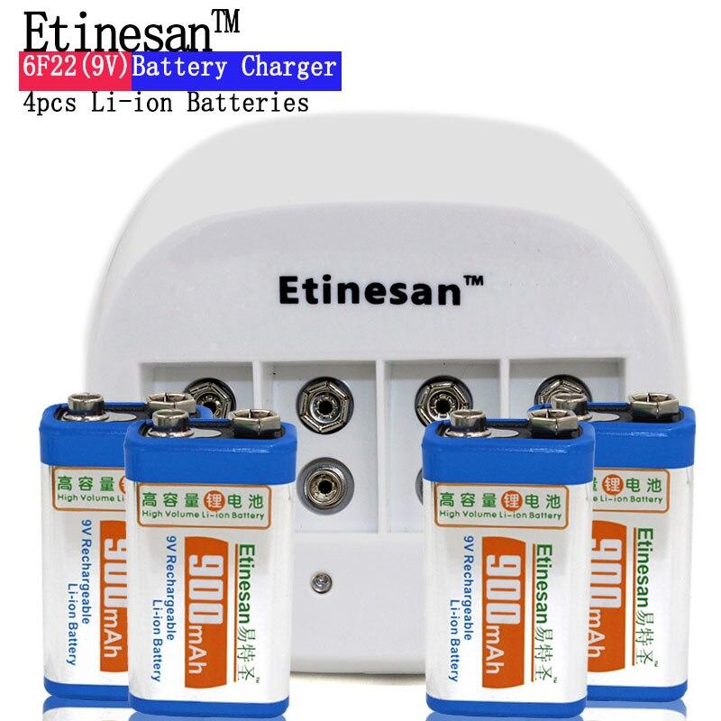4 pièces ETINESAN 9 v SUPER grand 900 mAh li-ion lithium Rechargeable 9 volts batterie avec dédié 4 fentes 9 v chargeur dépêchez-vous d'agir