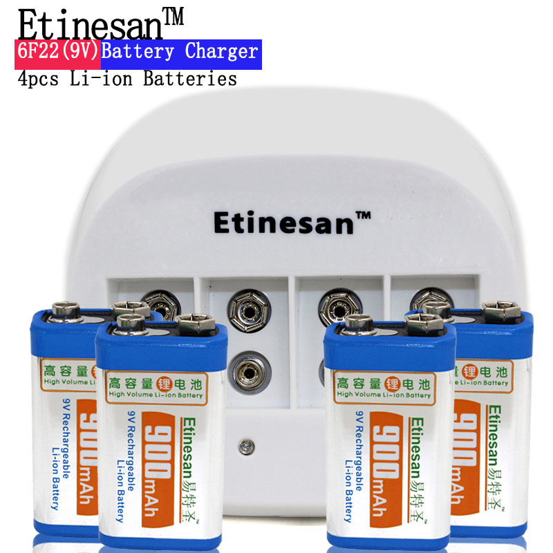 4 pcs ETINESAN 9v SUPER BIG 900mAh li-ion lithium Rechargeable 9 Volt Battery with Dedicated 4 slots 9v charger Hurry to act