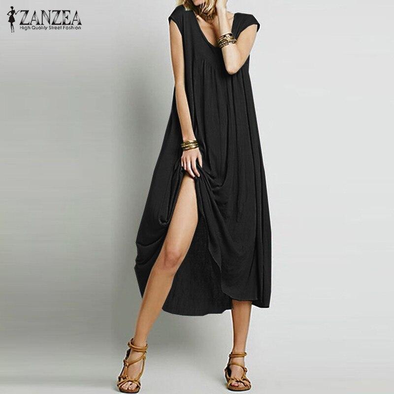 ZANZEA Moda  Mujeres Vestido Sin Mangas de Algodón Vestidos de Fiesta Largo Maxi Playa Vestidos Flojos Ocasionales Más El Tamaño S-5XL