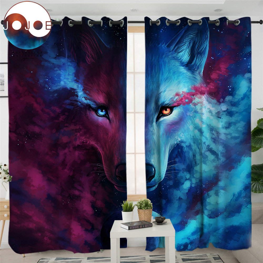 Where Light And Dark Meet by JoJoes Curtains 3d Wolf Living Room Curtain Psychedelic Window Treatment Drapes Home Decor 1/2pcsWhere Light And Dark Meet by JoJoes Curtains 3d Wolf Living Room Curtain Psychedelic Window Treatment Drapes Home Decor 1/2pcs