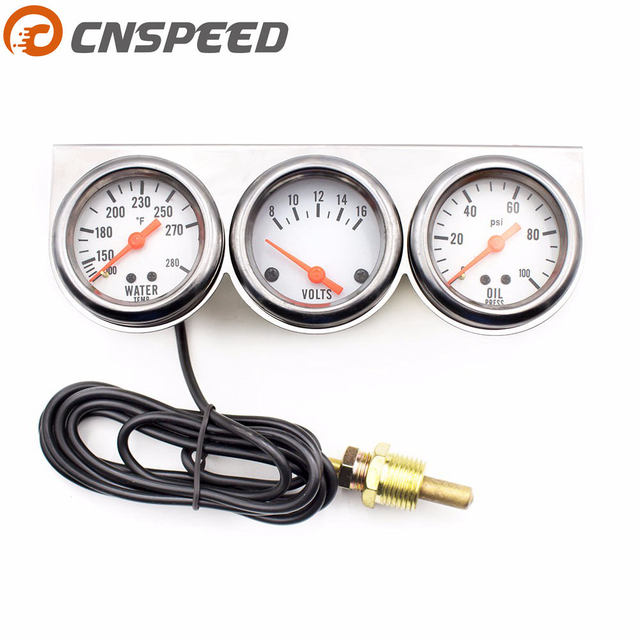 Cnsd Chrome 2inch 52mm Triple Gauge Kit Volt Meter Water Temp Temperature Oil Press Pressure