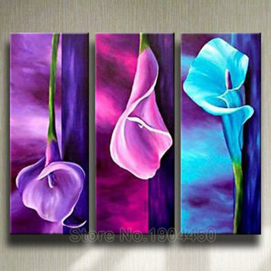 Online Shop Framed Handmade Oil Painting On Canvas Purple Pink Blue