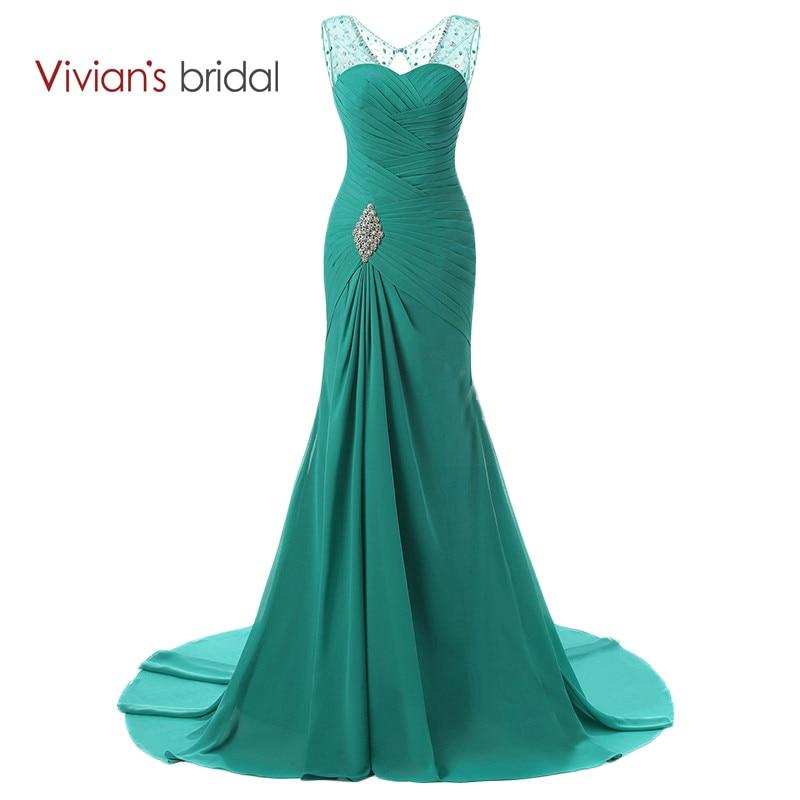 Vivian's Bridal Chiffon abito da sera a sirena lungo in rilievo di cristallo Prom Dresses increspato abito da sera formale ED2401
