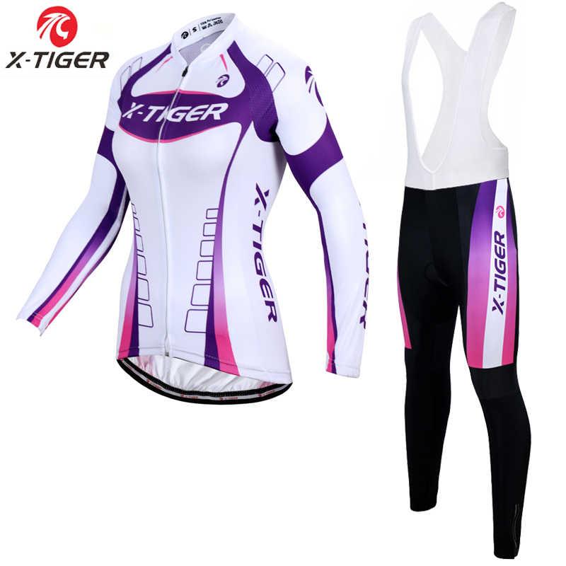 X-Tiger 100% Poliester Wanita Bersepeda Jersey Set Memakai Kit Spring MTB Sepeda Pakaian Sepeda Pakaian Uniformes De Ciclismo hombre