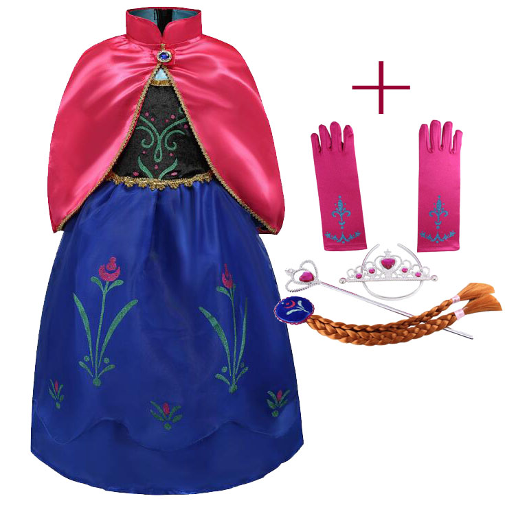 95905344763 Girl Anna Elza Dress up Costume Children Flower Princess Cosplay Fancy Party  Dress with Cloak for