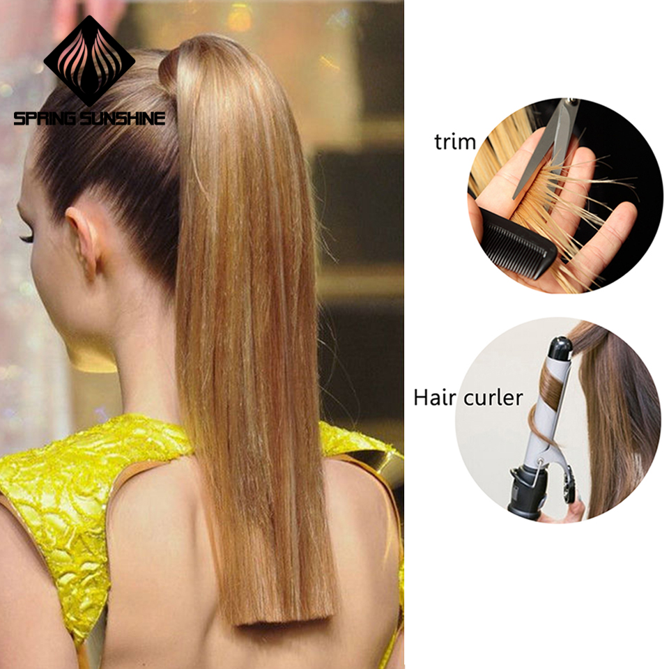 HTB1MhPQDKSSBuNjy0Flq6zBpVXaf - Spring sunshine 65cm Long Straight Blonde Clip In Hair Tail False Hair Ponytail Hairpiece Synthetic Hair Extensions