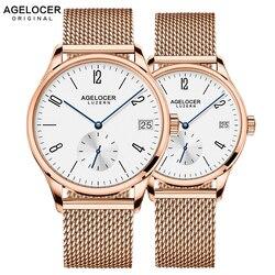 2019 AGELOCER السويسري التلقائية ووتش الرجال الساعات أعلى العلامة التجارية الفاخرة النساء الشهيرة حقيقية ساعة يد جلدية الذكور Relogio Masculino