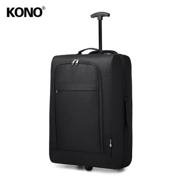 KONO Suitcase Hand Luggage Trolley Case Travel Bags High Quality Oxford Soft Shell 2 Wheels Light Weight 20 Inch Black K1873 hand luggage