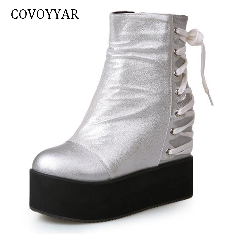 COVOYYAR 2019 bottes compensées cachées à la mode plate-forme côté Zip femmes bottes dos croisé attaché noir/argent chaussures WBS1121