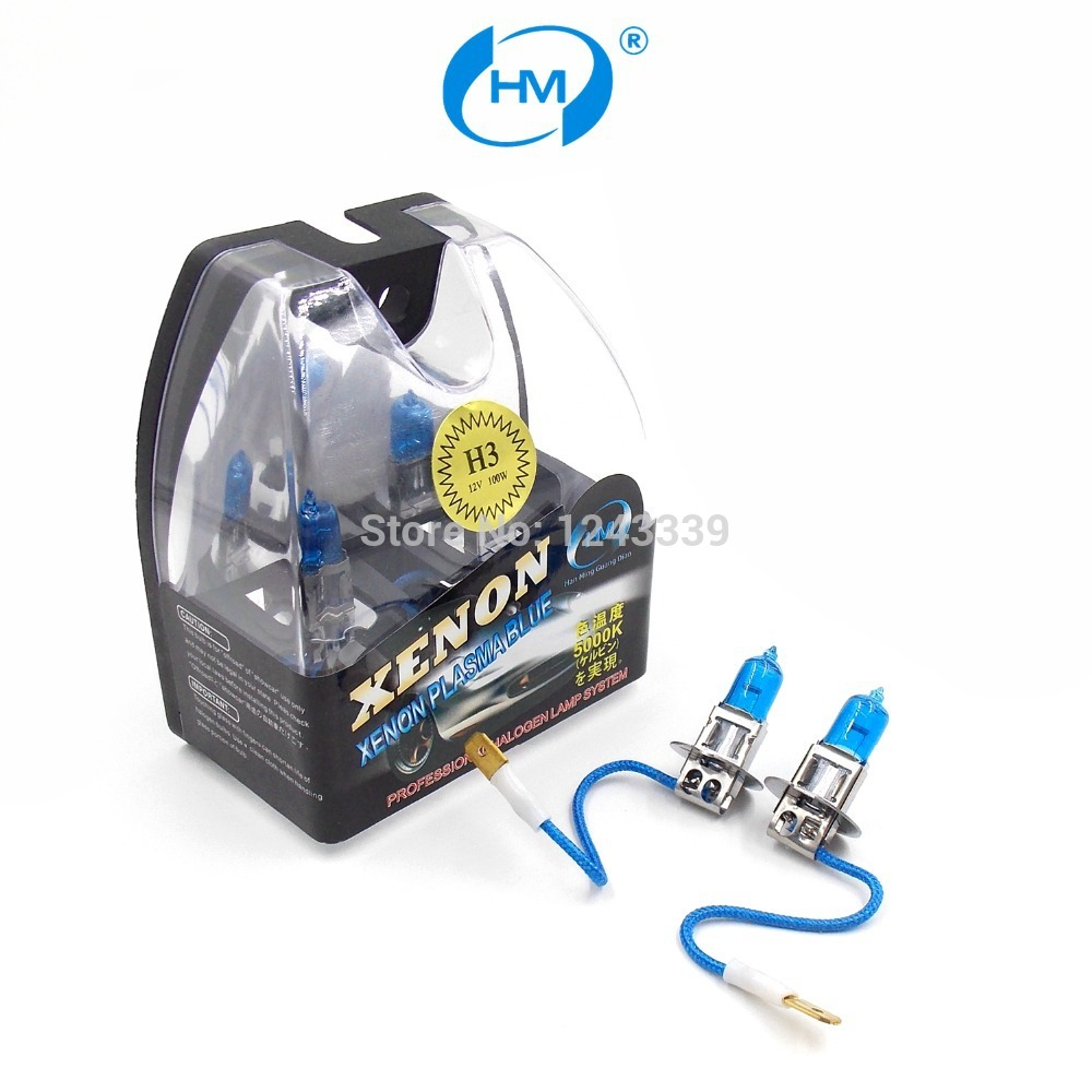 HM Xenon Plasma Super white light H3 12V 100W Halogen Automotive Car Head Light Bulbs Lamp (a Pair)