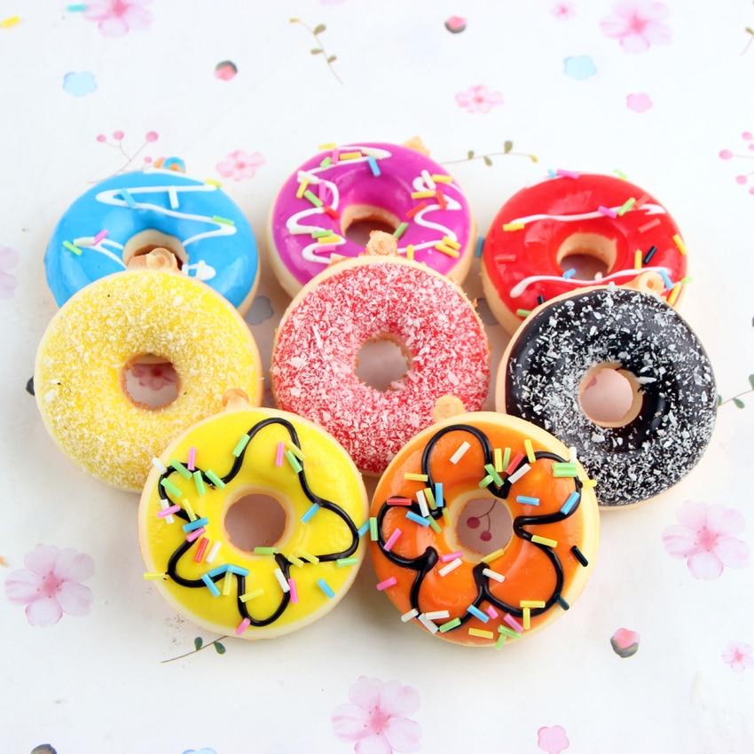 imágenes para 12 unids Nuevos Juguetes de Los Niños Colorido Rosquilla Blandita Squishies Pan Donuts Decoración de la Correa de Regalos de Juguetes Al Por Mayor Envío Libre PS-098