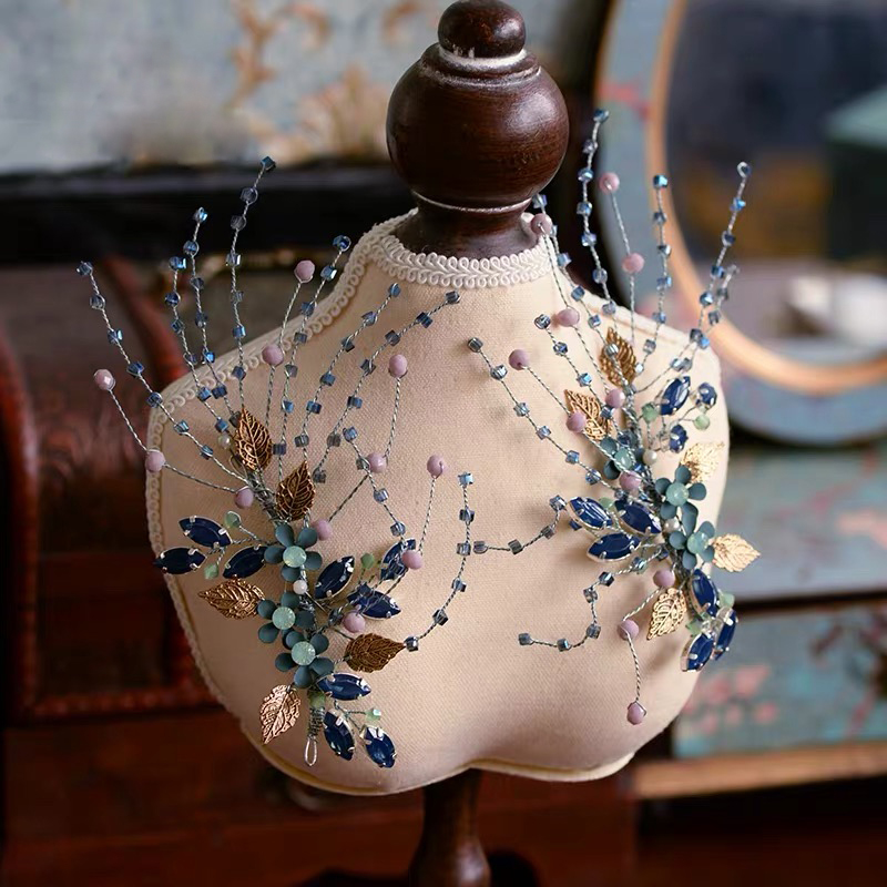 2 pièces fait à la main Baroque bleu mariées bandeaux européennes mariées Barrettes mariage accessoire de cheveux strass cheveux bijoux