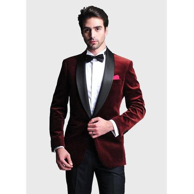 5e312798b2771 Costumes de mariage pour hommes sur mesure veste de velours rouge vin  pantalon de revers noir