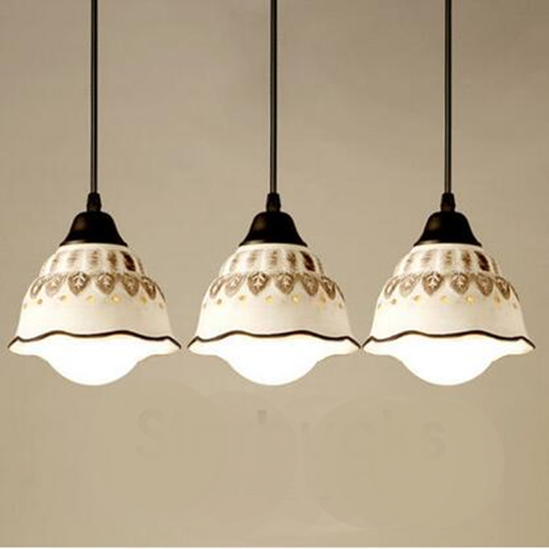ФОТО Vintage Chinese Country Creative Handmade Ceramic Led E27 Pendant Light for Dining Room Living Droplights AC 80 265V 1373